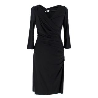 Diane von Furstenberg Black Ruched Fitted Dress