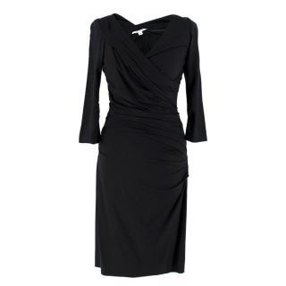 Diane von Furstenberg Black Ruched Fitted Dress
