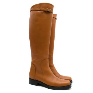 Ermanno Scervino Brown Stivaletto Leather Riding Boots