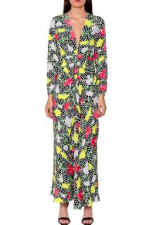 Rixo Dot Garden-print V-neck maxi dress