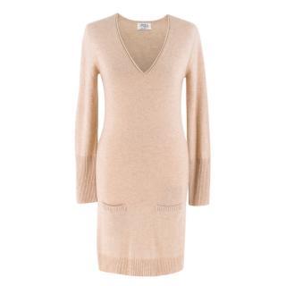 Authentic Cashmere Beige Long Sleeve Cashmere Dress