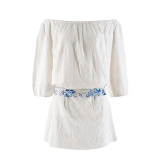 Mochi Hungary Collection White Embroidered Floral Dress