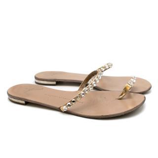 Giuseppe Zanotti Crystals Embellished Flat Sandals