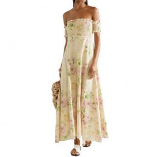 Zimmermann Iris off-the-shoulder floral-print linen-blend maxi dress