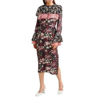 Mother of Pearl Anner pleated silk-blend georgette midi dress