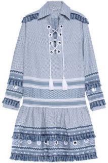 Dodo Bar Or Gadielle lace-up embellished cotton-jacquard dress