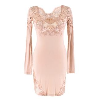 Ermanno Scervino Dusty Pink Laced Lingerie Dress