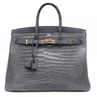 Hermes Petrol Alligator Leather 35cm Birkin Bag