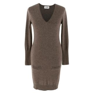 Just Cashmere Brown Long Sleeve Cashmere Dress