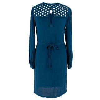 Diane von Furstenberg Blue Net Trim Dress