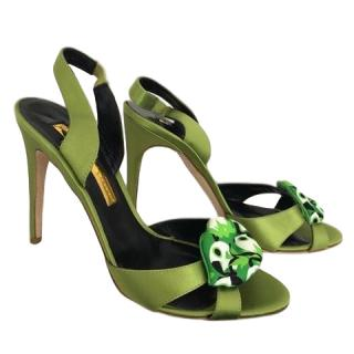 Rupert Sanderson Frisia Green Lips Satin Sandals