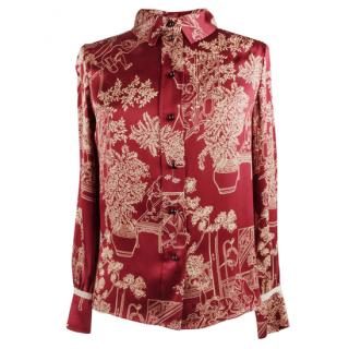 Louis Vuitton Silk China Print Red Blouse