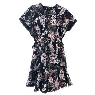 Zimmermann Black Floral Lace-Up Mercer Dress