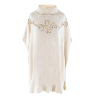 Ermanno Scervino White Capped Sleeves Wool-blend Sweater