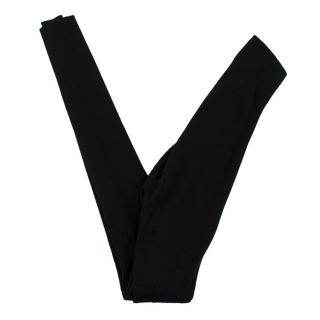 Escada Black High Waist Ribbed Leggings