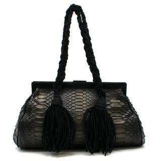 Emanuel Ungaro Black Python Leather Shoulder Bag