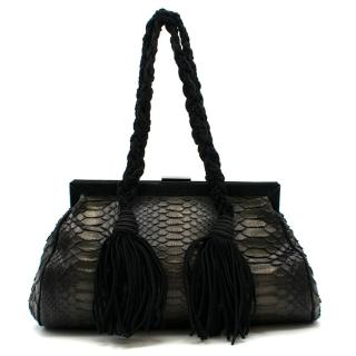 Emanuel Ungaro Black Python Leather Shoulder Bag