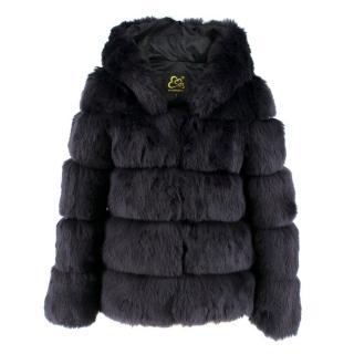 Fanpu Guizhen Navy Faux Fur Coat