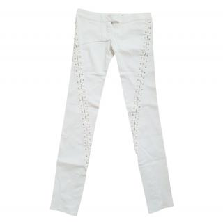 Preen by Thornton Bregazzi White Lace-Up Pants