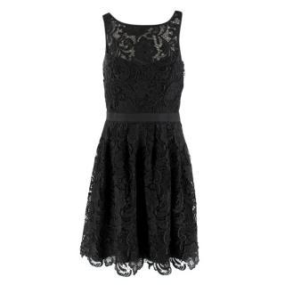 Aidan Mattox Black Floral Lace Dress