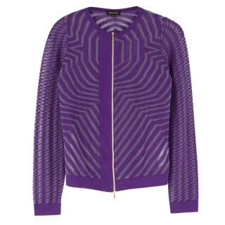 Escada Metallic Purple Knit Zip Cardigan