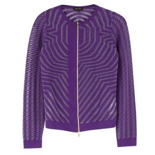 Escada Metallic Purple Knit Zip Cardigan