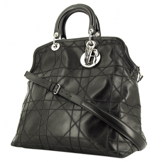 Dior Anthracite Cannage Leather Large Granville Tote