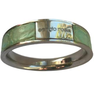 Sergio Rossi Steel and Exotic Leather Bangle .