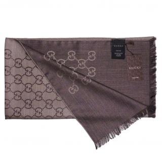Gucci Wool & Silk Guccissima Brown Scarf