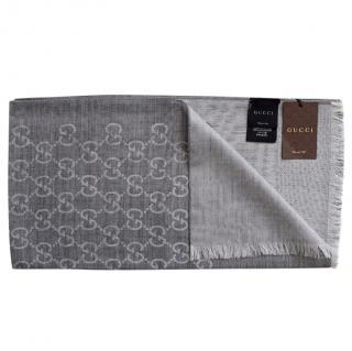 Gucci Wool & Silk Guccissima Grey Scarf