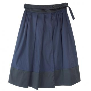 Prada Bi-Colour Pleated Belted Midi Skirt