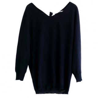 Margaret Howell Fine Knit Navy Wool, Silk & Cashmere Jumper