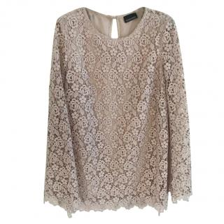 Ermanno Scervino pink floral lace top