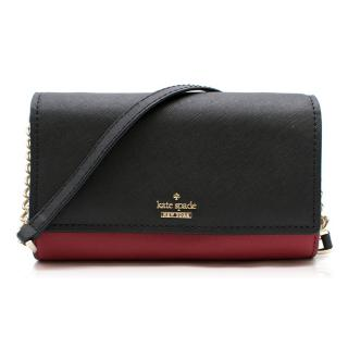 Kate Spade Black & Red Leather Wallet on Chain