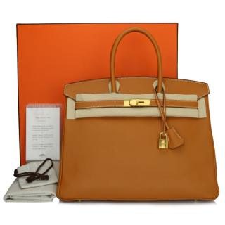Hermes Toffee Epsom Leather 35 Birkin Bag