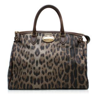 Roberto Cavalli Leopard Print Grained Leather Tote Bag