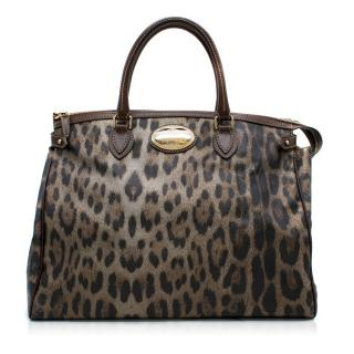 Roberto Cavalli Leopard Print Grained Leather Tote Bag