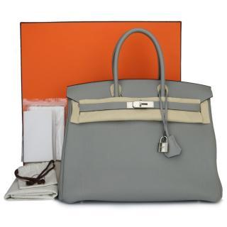 Hermes Gris Mouette & Bleu Agate Togo Leather 35cm Birkin Bag