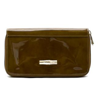 Longchamp Ochre Brown Patent Leather Wallet