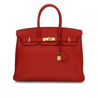 Hermes Togo Leather Geranium 35cm Birkin Bag