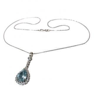 Bespoke Aquamarine & Diamond Pendant Necklace