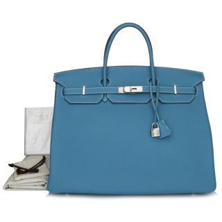 Hermes Blue Jean Togo Leather 40cm Birkin Bag