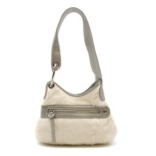 Hogan Leather & Fur Mini Shoulder Bag