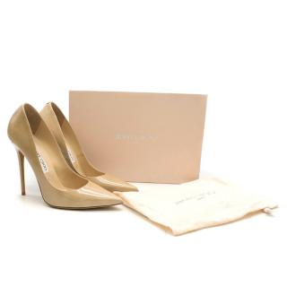 Jimmy Choo Tacco 120 Nude Patent Leather Pumps