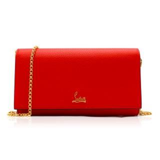 Christian Louboutin Red Boudoir Grained-leather Chain Wallet