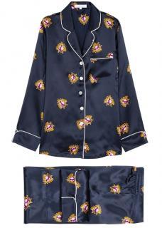 Olivia Von Halle coco navy silk pyjama set