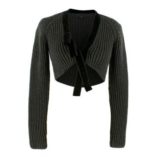Gucci Grey Wool Knitted Cropped Cardigan