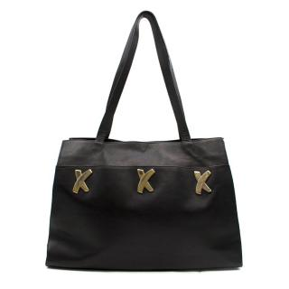 Paloma Picasso Black Leather Tote Bag