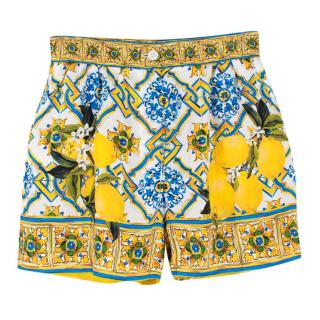 Dolce & Gabbana Majolica & Lemon-print Silk Shorts