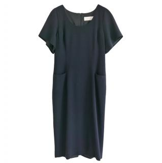 Goat Navy Wool Crepe Mini Dress